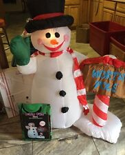 Inflatable Snowman Illuminated 4 Ft Outdoor Holiday Yard Top Hat North Pole Sign
