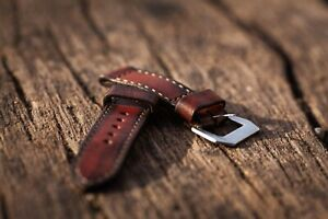Handmade dyed black/red leather strap for Panerai with GPF buckle 27,26, 24,22mm