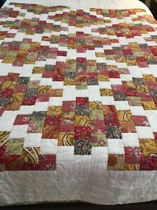 Pottery Barn Patchwork Paisley Quilt Ivory Gold Multi-Color Full/Queen