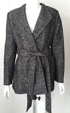 New Precis Petite Black Marl Wool Blend Coat Size 12
