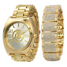 Men's 14k Gold PT Iced Hip Hop Fashion Dome Fully Cz Bracelet & Watch S Face FB