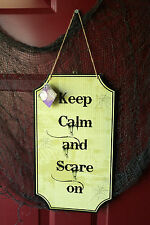 Halloween Decorative Sign Keep Calm and Scare On Wall Hanging Decor decoration #