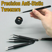 6Pcs Precision ESD Anti-Static Stainless Steel Tweezers Set Kit Tools Set