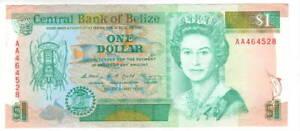 BELIZE $1 Dollar Crisp XF Queen Elizabeth II Banknote (1990) P-51 1st Prefix AA