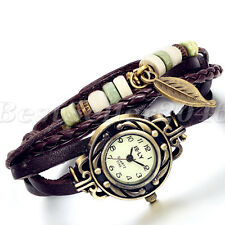 Womens Charm Handmade Bracelet Weave Leather Leaf Decoration Quartz Wrist Watch