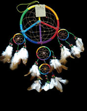 "6.5"" Rainbow Colored Peace Sign Dreamcatcher W Beads & Feathers For Wall Or Car"