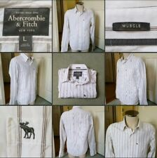*Used* Lovely Mens White & Grey Pin-Striped Shirt▪ABERCROMBIE▪Size L~Some Marks!