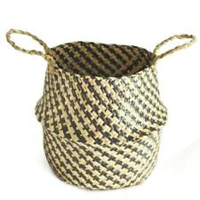Foldable Handmade Storage Baskets Straw Rattan Garden Flower Planter Pot