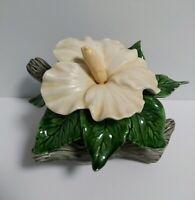 Vintage 1974 JAMAR MALLORY STUDIO Pottery Ceramic Hibiscus Flower White Green