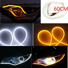 "24"" 60cm Flexible Silicone LED Light Strips Switchback +Turn Signal White Yellow"