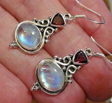 Superb Sterling Silver, Blue Moonstone & Garnet Dangley Ear Rings