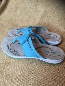 Eddie Bauer Ladies Gray & Blue Spring 15 Flip Flops Worn Once