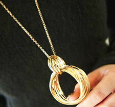 Fashion Gold Tone Metal Weave Multilayer Hoop Circle Pendant Long Necklace Chain