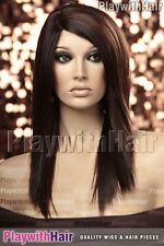 Sleek Straight Heat Friendly Wig MONO PART Brown Auburn Mix