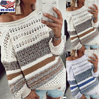 Womens Hollow Knitted Sweater Tops Ladies Winter Loose Pullover Jumper Blouse US