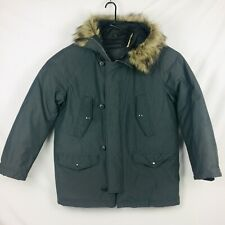 GAP Mens EUC Parka Full Zip Button Hooded Winter Jacket Coat sz XL Gray