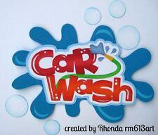 Car Wash boy girl paper piecing title premade scrapbook page Rhonda rm613art