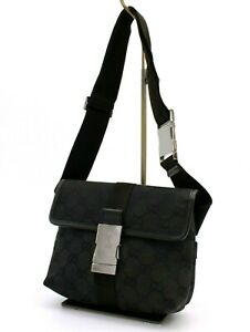 【Rank A】 Authentic Gucci GG Canvas Waist Bum Bag Body Bag Crossbody Black Italy