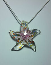 Murano glass Pink Starfish Design on 925 Sterling Silver Necklace