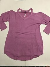 Ambrielle Women's Plus Size XXL (2X) Cut out  Pink Blouse Top