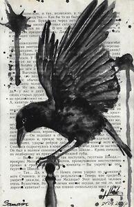 original painting 13,5x21,5 cm 320LN book page art watercolor animal bird raven