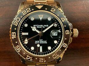STUHRLING ORIGINAL 42MM ROSE GOLD GMT DUAL TIME WATCH (3965.05)