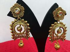 Indian Ethnic Bollywood Style Fashion Gold Tone Jewelry Earrings Set