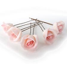 BLUSH PINK ROSE HAIR FLOWER PIN BRIDAL TIARA FLORAL WEDDING ACCESSORIES 6