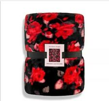 """New Victoria Secret'S Vs 2019 Red Pink Floral Sherpa Blanket 50""""X60"""" Retail $68"""