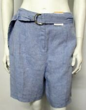 NEW SIZE 10 LADIES LINEN SHORTS WITH POCKETS & BELT PER UNA MARKS & SPENCER CHAM