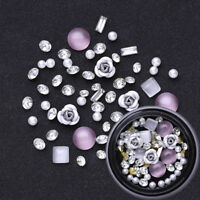 Metal Rose Opals Crystal Gemstone Transparent Rhinestones 3D Nail Art Decoration