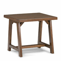 Sawhorse Solid Wood End Table in Medium Saddle Brown