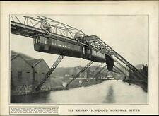 German Suspended Monorail 1902 vintage newsprint fascinating old sheet paper