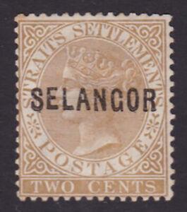 Selangor. SG 3, 2c brown. Crown CC wmk. Mint, no gum.