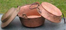 ancien chaudron, plat, gamelle en cuivre  et fer forgé, France, lot de 3