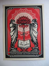 Shepard Fairey Knowledge + Action Red/Black Obey Giant Signed Poster Print