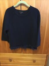 J.CREW Navy Sweater With Fringe Hem Size M