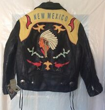"NOS Vintage Avirex ""New Mexico"" Leather Motorcycle Black Jacket - Size XS"