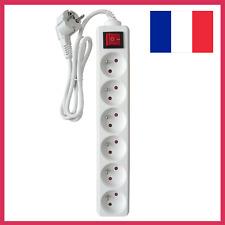 Rallonge Multiprise Electrique 6 Prises avec Interrupteur Bloc Blanc 16A Cble 1m