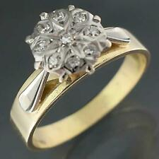Vintage 1960's Solid 18k Yellow & White GOLD DIAMOND CLUSTER RING Sz M1/2