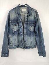 Men's Denim And Supply Ralph Lauren Blue Jean Trucker Jacket Size XXL Distressed