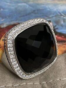 David Yurman SS Albion 20mm Black Onyx & Diamond Ring. Size 7.5