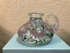 Vintage 1999 Gibson Art Glass Chamber Candle Holder Pink/White/Green