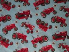 Tractors Farmall Red Tractor Denim Like Light Blue Cotton Fabric BTHY