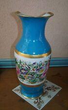 Vase Ancien Porcelaine de Sèvres ? Bleu Céleste Décor floral à restaurer
