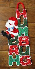 "Vintage Christmas Felt Sequins Santa ""Bah Humbug""  Wall Hanging 27"" Long"