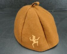 Vintage 50's & 60's Girl Scout Hat / Brownie Cap with Orange Logo