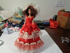 Barbie Doll with Hand Crocheted Red Dress,and,Hat,red tall boots, Ooak