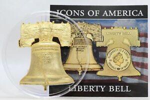 2021 Ghana Icons of America Liberty Bell 2 Cedis Coin CuNi Gold Plated BU JJ705
