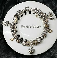 Authentic Pandora Two Tone Silver and Gold Wedding, Bride, Love Bracelet Charms